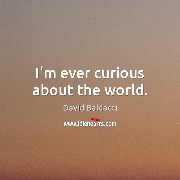 I'm ever curious about the world. David Baldacci Picture Quote