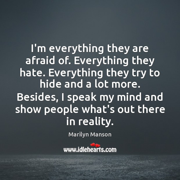 Image, I'm everything they are afraid of. Everything they hate. Everything they try