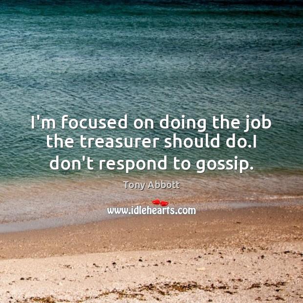 I'm focused on doing the job the treasurer should do.I don't respond to gossip. Image
