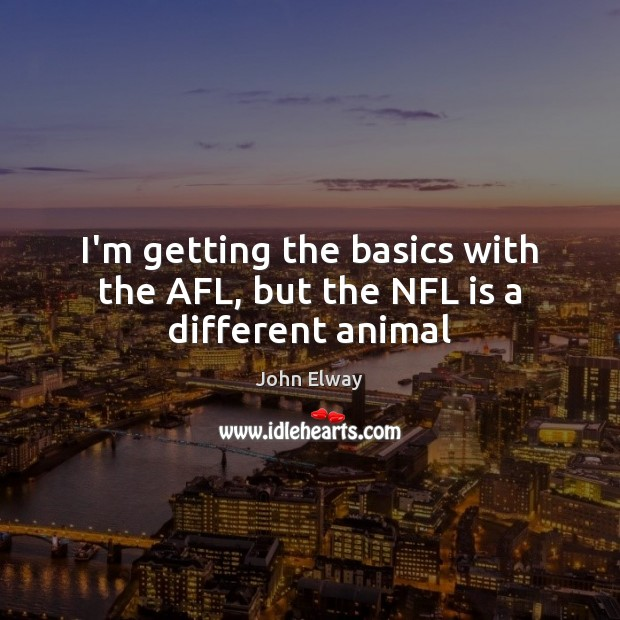 Image, I'm getting the basics with the AFL, but the NFL is a different animal