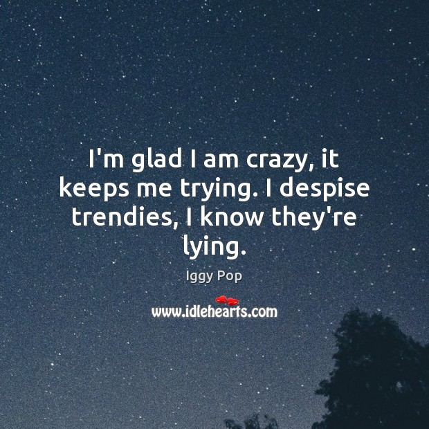 I'm glad I am crazy, it keeps me trying. I despise trendies, I know they're lying. Iggy Pop Picture Quote