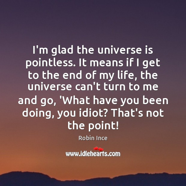 I'm glad the universe is pointless. It means if I get to Image