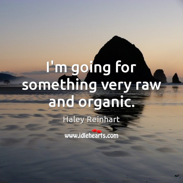 I'm going for something very raw and organic. Haley Reinhart Picture Quote