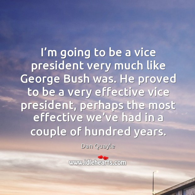 I'm going to be a vice president very much like george bush was. Image