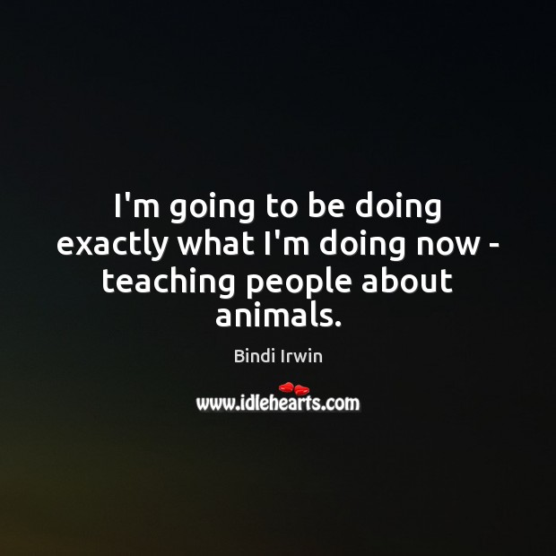 I'm going to be doing exactly what I'm doing now – teaching people about animals. Image