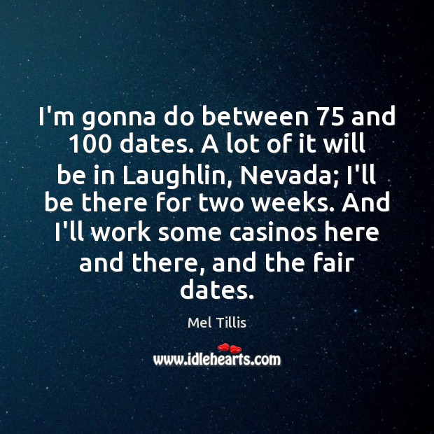 I'm gonna do between 75 and 100 dates. A lot of it will be Image