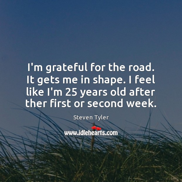 I'm grateful for the road. It gets me in shape. I feel Steven Tyler Picture Quote