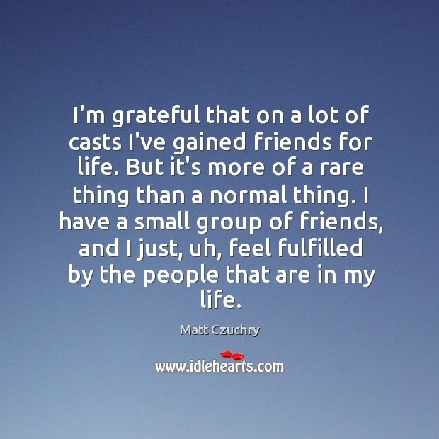 Image, I'm grateful that on a lot of casts I've gained friends for