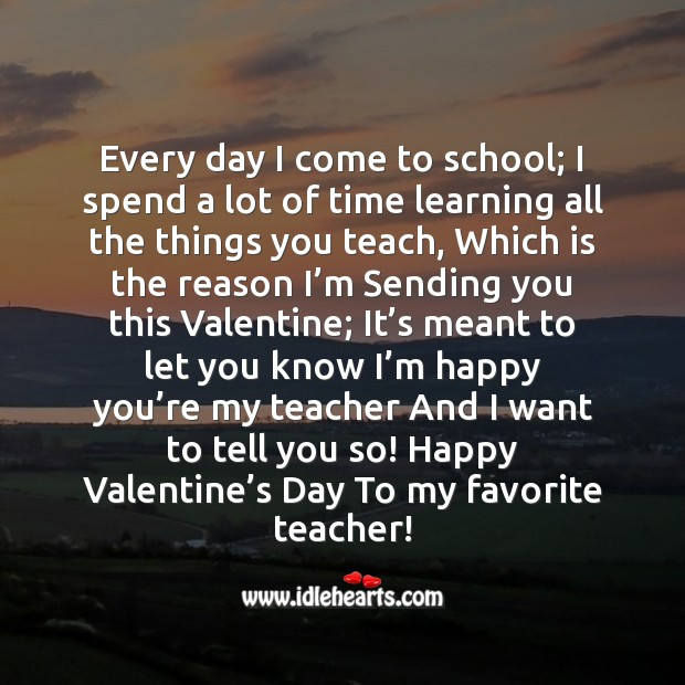 I'm happy you're my teacher Valentine's Day Messages Image