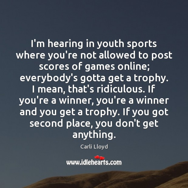 Image, I'm hearing in youth sports where you're not allowed to post scores