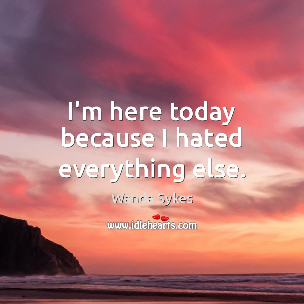 I'm here today because I hated everything else. Wanda Sykes Picture Quote