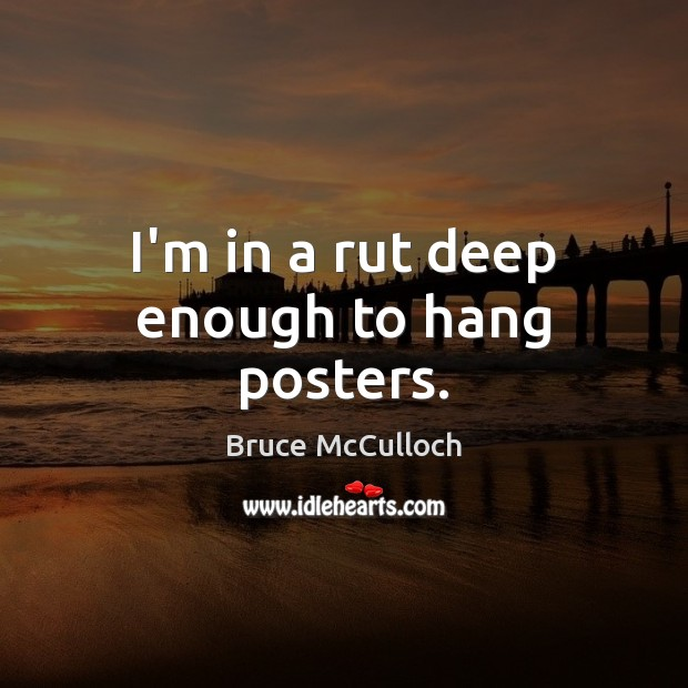 I'm in a rut deep enough to hang posters. Bruce McCulloch Picture Quote