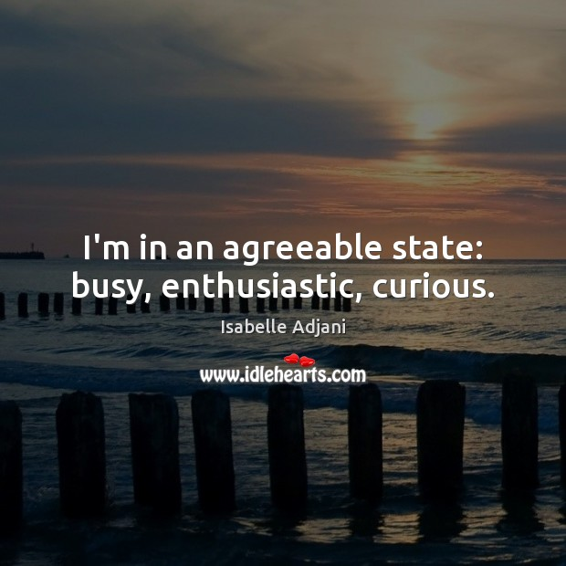 I'm in an agreeable state: busy, enthusiastic, curious. Isabelle Adjani Picture Quote