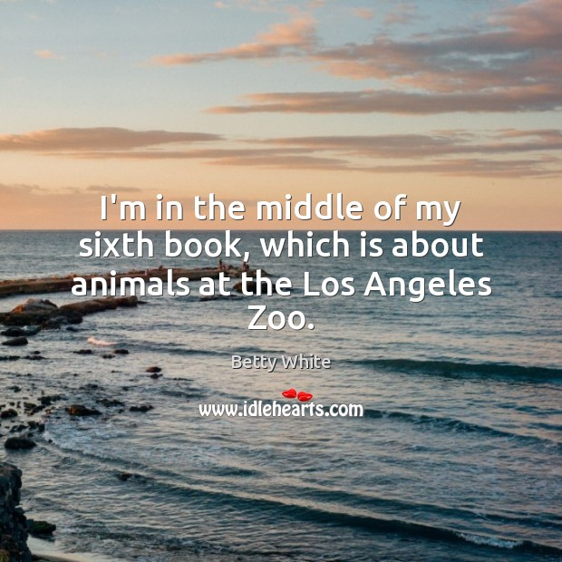 I'm in the middle of my sixth book, which is about animals at the Los Angeles Zoo. Betty White Picture Quote