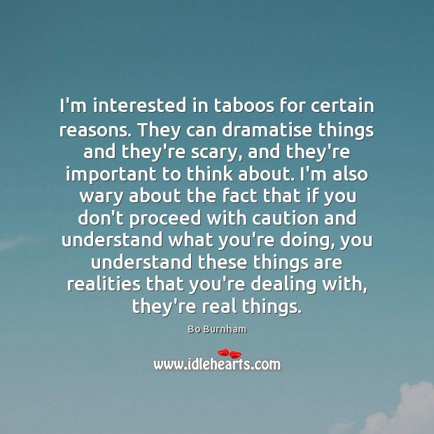 I'm interested in taboos for certain reasons. They can dramatise things and Bo Burnham Picture Quote
