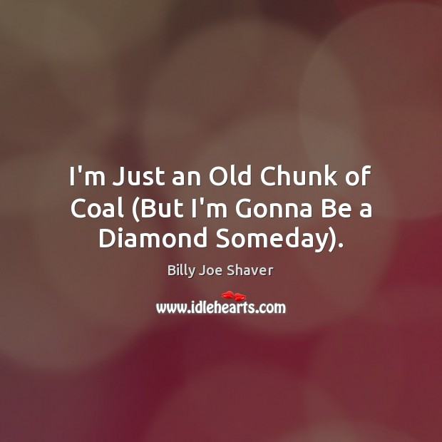 Image, I'm Just an Old Chunk of Coal (But I'm Gonna Be a Diamond Someday).