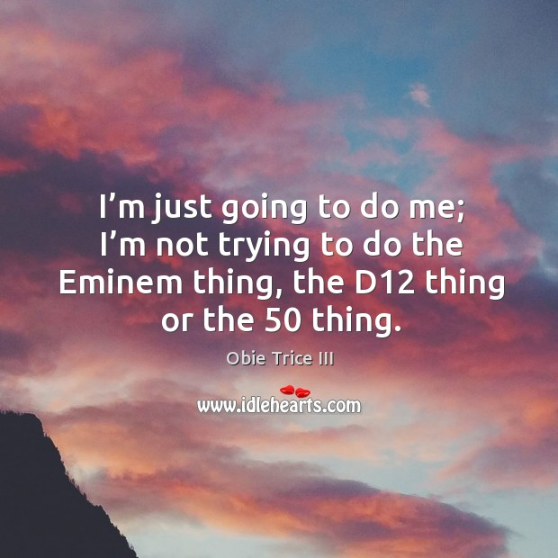 I'm just going to do me; I'm not trying to do the eminem thing, the d12 thing or the 50 thing. Image