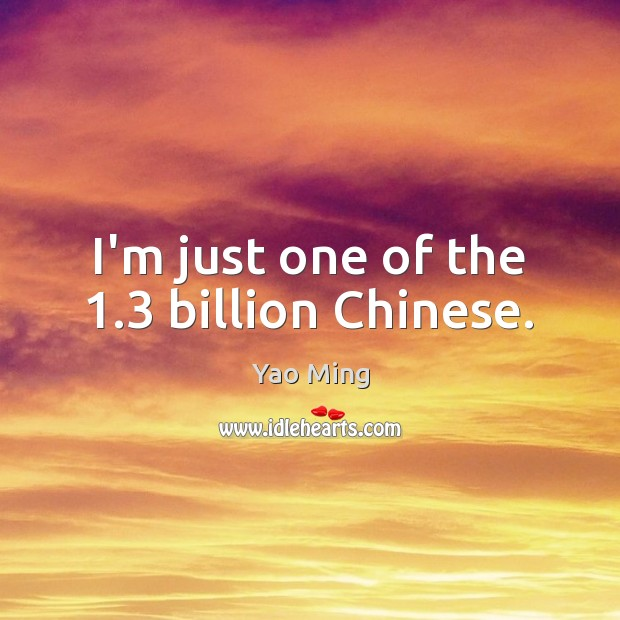 I'm just one of the 1.3 billion Chinese. Image