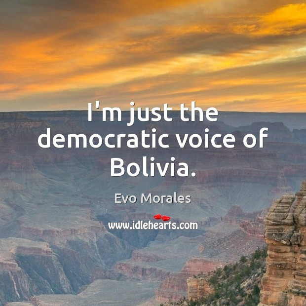 I'm just the democratic voice of Bolivia. Image