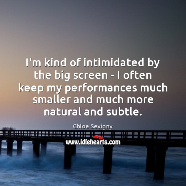 I'm kind of intimidated by the big screen – I often keep Chloe Sevigny Picture Quote