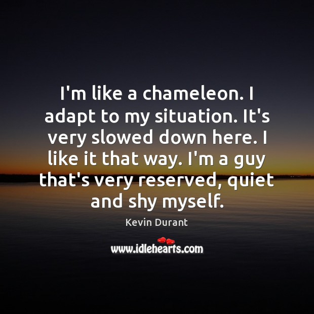 Image, I'm like a chameleon. I adapt to my situation. It's very slowed