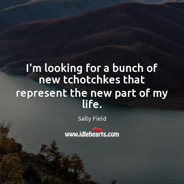 I'm looking for a bunch of new tchotchkes that represent the new part of my life. Sally Field Picture Quote