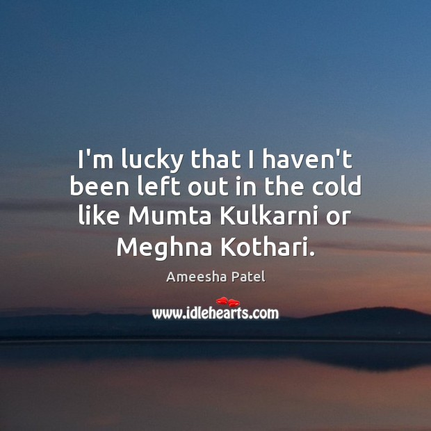 Image, I'm lucky that I haven't been left out in the cold like Mumta Kulkarni or Meghna Kothari.