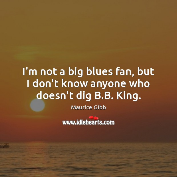 I'm not a big blues fan, but I don't know anyone who doesn't dig B.B. King. Maurice Gibb Picture Quote