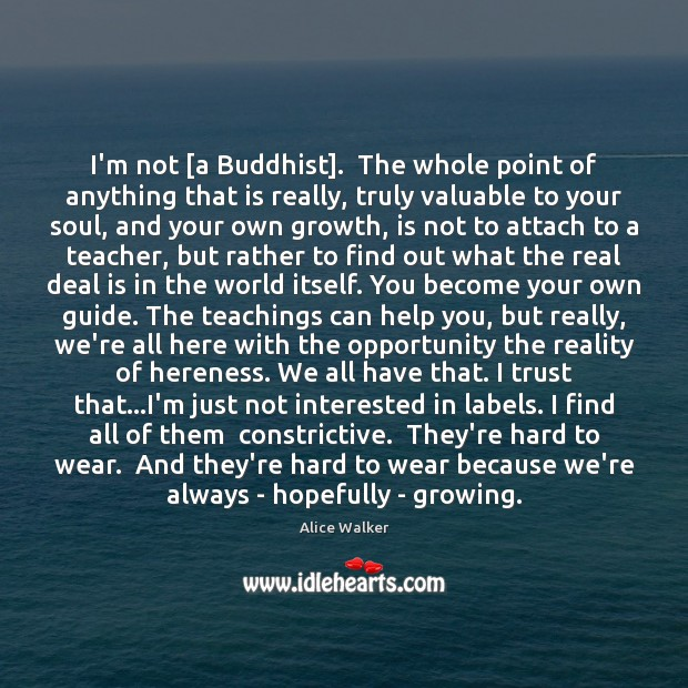 I'm not [a Buddhist].  The whole point of anything that is really, Image
