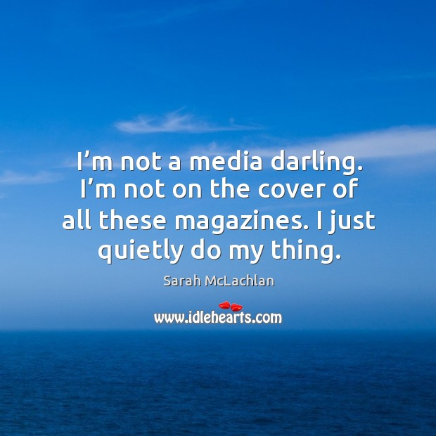 I'm not a media darling. I'm not on the cover of all these magazines. I just quietly do my thing. Image