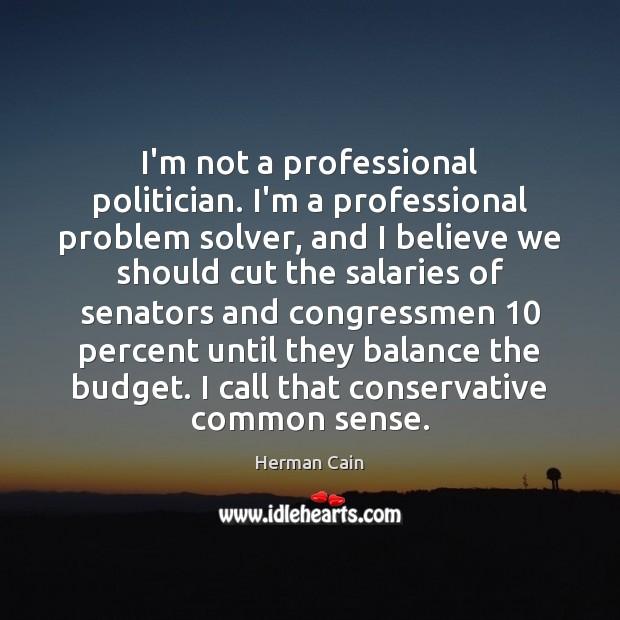 I'm not a professional politician. I'm a professional problem solver, and I Image