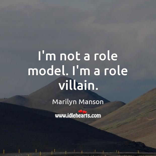 Image, I'm not a role model. I'm a role villain.