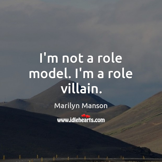 I'm not a role model. I'm a role villain. Image