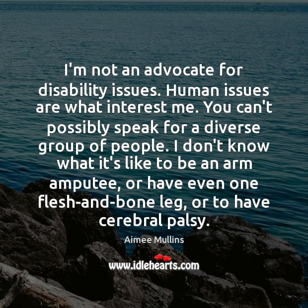 I'm not an advocate for disability issues. Human issues are what interest Aimee Mullins Picture Quote