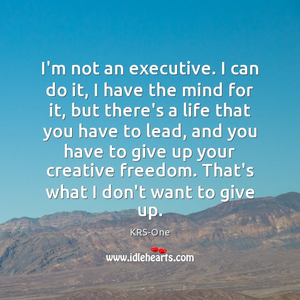 I'm not an executive. I can do it, I have the mind KRS-One Picture Quote