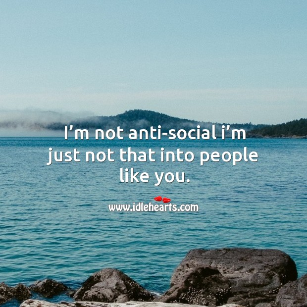 I'm not anti-social I'm just not that into people like you. Image