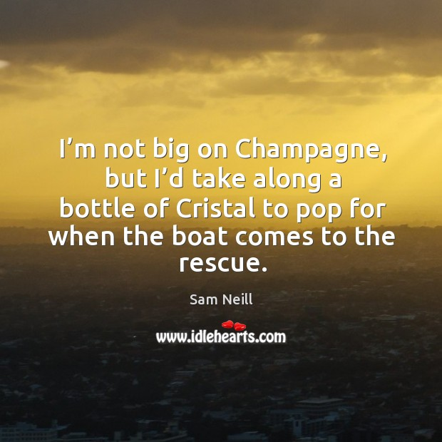 I'm not big on champagne, but I'd take along a bottle of cristal to pop for when the boat comes to the rescue. Image
