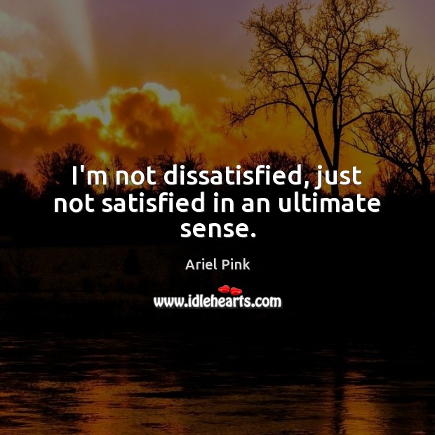 I'm not dissatisfied, just not satisfied in an ultimate sense. Image