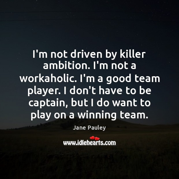I'm not driven by killer ambition. I'm not a workaholic. I'm a Jane Pauley Picture Quote