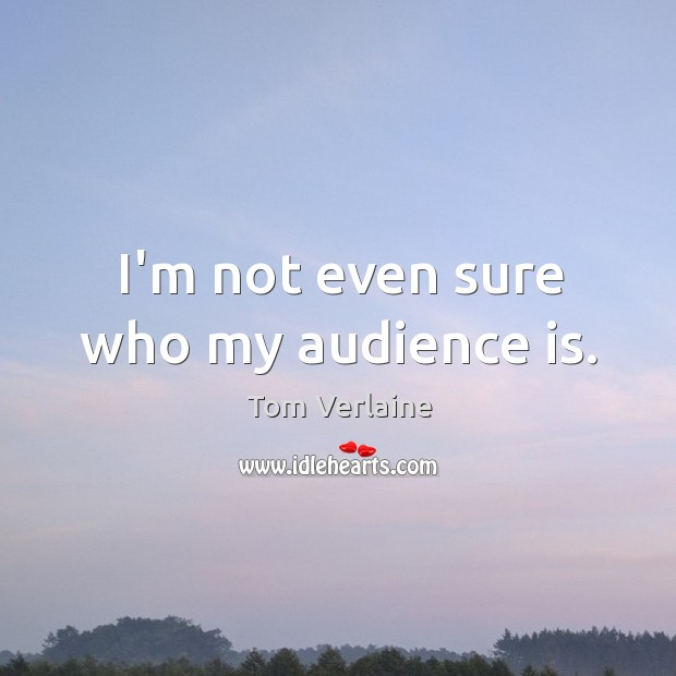 I'm not even sure who my audience is. Tom Verlaine Picture Quote