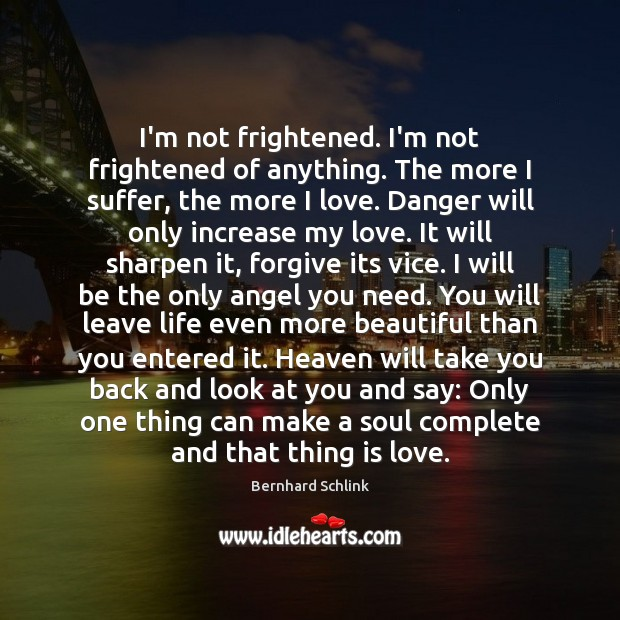 I'm not frightened. I'm not frightened of anything. The more I suffer, Image
