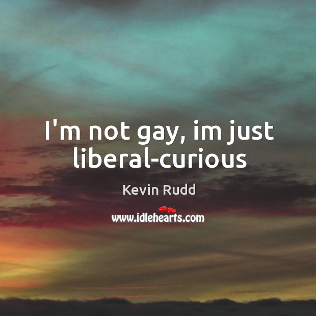 I'm not gay, im just liberal-curious Image