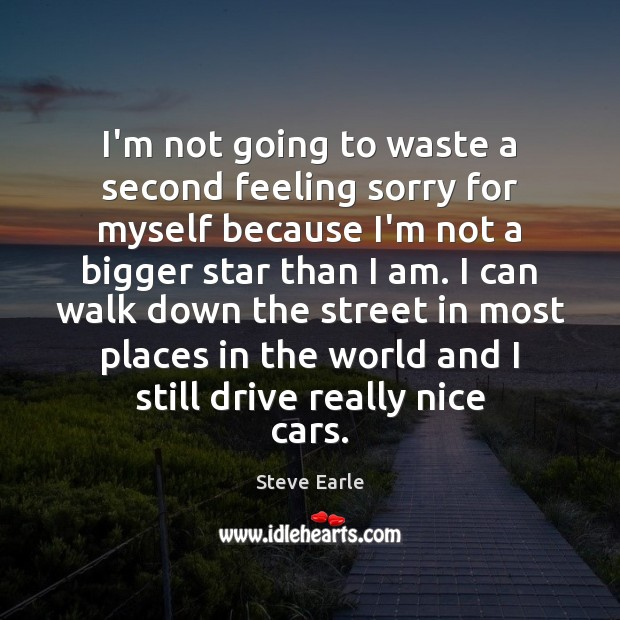 I'm not going to waste a second feeling sorry for myself because Steve Earle Picture Quote