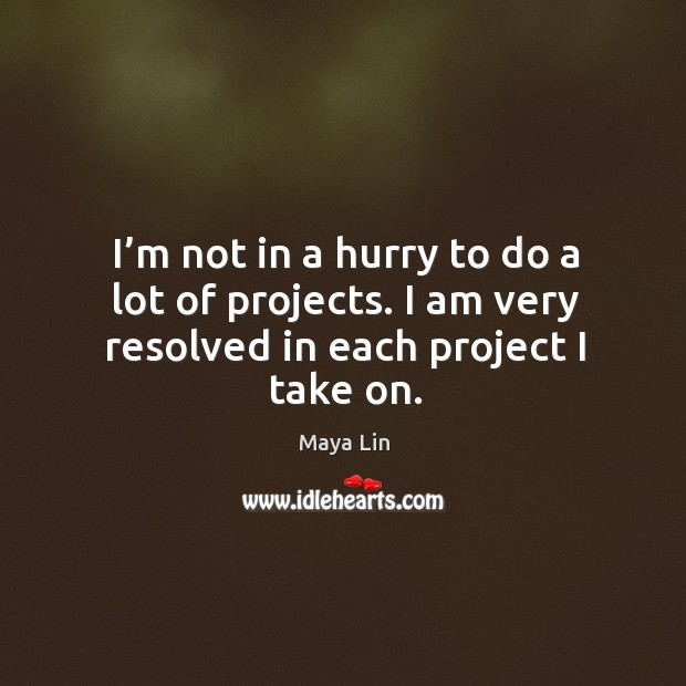 I'm not in a hurry to do a lot of projects. I am very resolved in each project I take on. Maya Lin Picture Quote