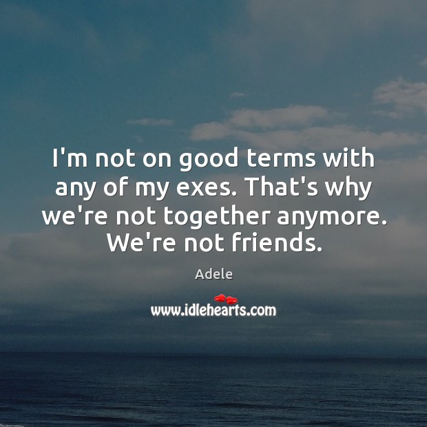 I'm not on good terms with any of my exes. That's why Adele Picture Quote