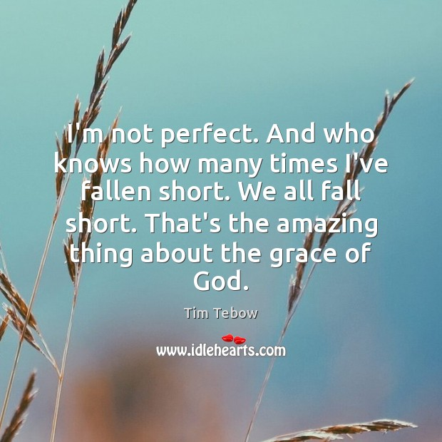 I'm not perfect. And who knows how many times I've fallen short. Tim Tebow Picture Quote