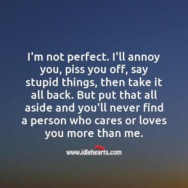 Image, I'm not perfect. I'll annoy you, piss you off, say stupid things, then take it all back.