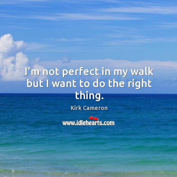 I'm not perfect in my walk but I want to do the right thing. Image