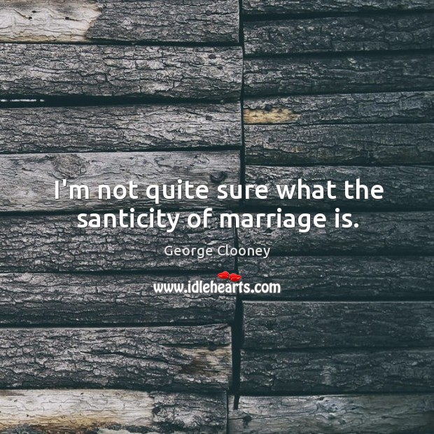I'm not quite sure what the santicity of marriage is. George Clooney Picture Quote