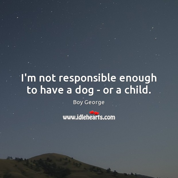 I'm not responsible enough to have a dog – or a child. Boy George Picture Quote